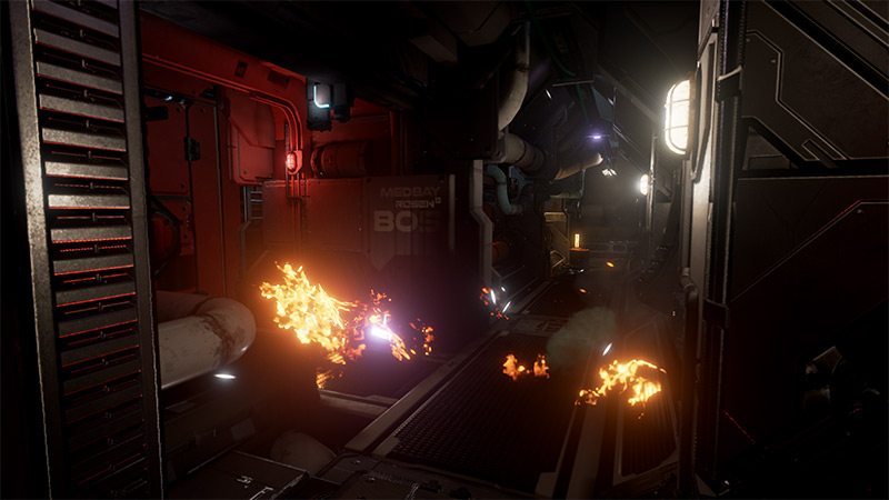 Fire bursting from pipes, Syren VR game screenshot